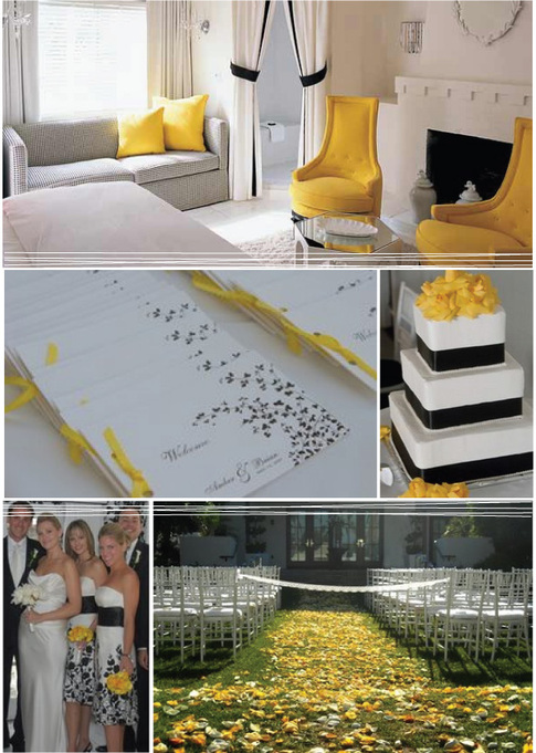 I love this wedding that they are featuring on the blog yellow black and
