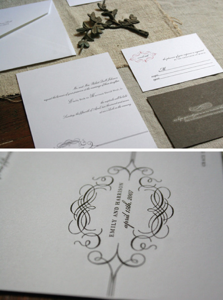 White Wedding Invitations. Emily is a great invitation to