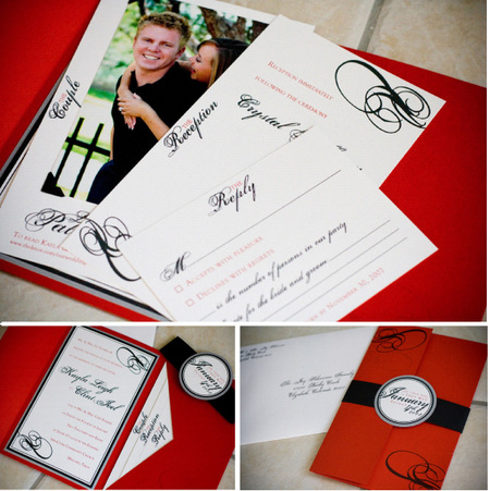 Red Black White Square Wedding Invitation Neenah Paper in Red Linen,